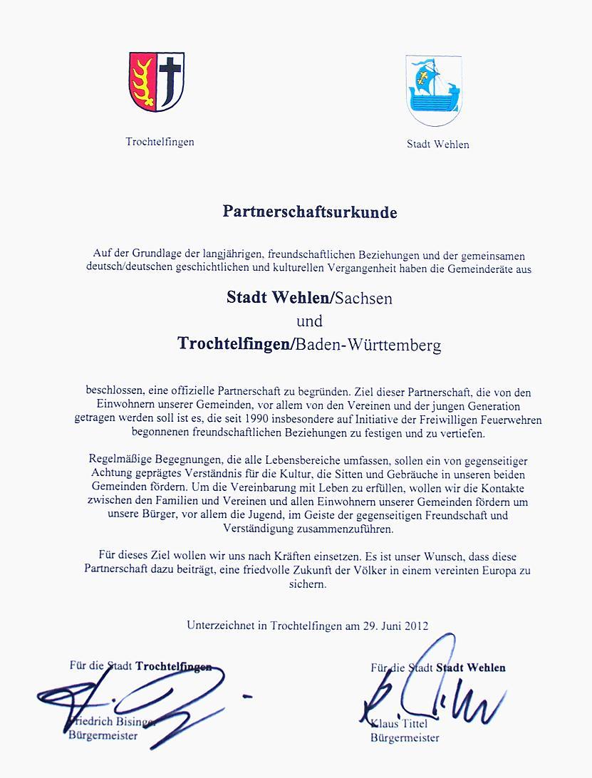 Urkunde Trochtelfingen Wehlen Partnerschaft